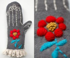 felted wool, embroidered mittens - just beautiful!