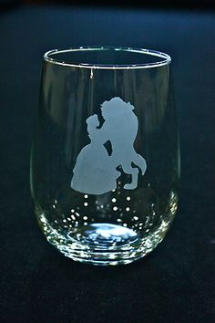 Disney Princess Stemless Wine Glasses: Beauty and the Beast