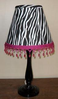 DIY zebra lamp - shade is from dollar store Zebra Print Rooms, Zebra Room Decor, Zebra Print Rug, Bedroom Decor, Bedroom Ideas, My New Room, My Room, Girl Room, Safari Bathroom