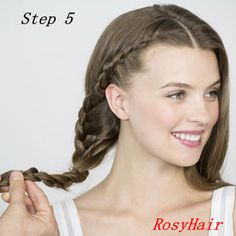 Step 5: Continue braiding all the way down to the ends and secure with a clear elastic. Repeat on the opposite side.