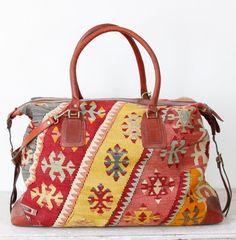 Vintage Turkish Wool Carpet Bag