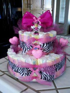 Zebra print Minnie MOUSE diaper cake