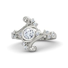 Round Diamond 14K White Gold Ring with Diamond - Flamenco Ring | Gemvara