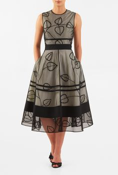 3aa1a168e9 love the leaves and taupe color I this Leaf wool embellished tulle layer  poplin dress from eShakti