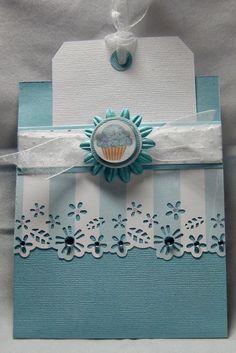 "Gift Card/Tag Card  Martha Stewart M4280005 Wildflower Edge Punch - Organza Ribbon - CO721992Couture Creations Gemstones Blue Iceberg – EK Circle Punches 1"" – 3/8"" - 11/8"" - 1/2"" - Green Tara Flower"