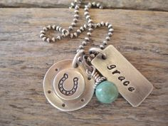 Personalized sterling silver 'rustic cowgirl' charm necklace
