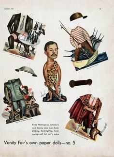 Ernest Hemingway on characters' costumes paper doll
