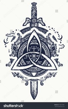 Celtic dragons and sword, symbol of the Viking. Helm of Awe, aegishjalmur, celtic trinity knot, northern ethnic style, tattoo. Dragons and Celtic knot, tattoo and t-shirt design