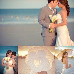 Inspiration Wedding Photography by International Wedding Photographer ... SimplyCaptivating.com ... Beach wedding, parasol, umbrella, bride, groom, sea, ocean, sunset, miami, crandon park,