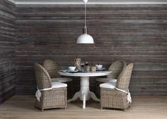 Alt er mulig med paneler i tre Cabin Homes, Dining Table, House, Furniture, Home Decor, Decoration Home, Home, Room Decor, Dinner Table