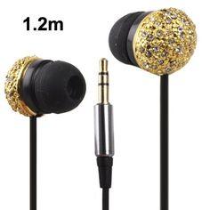 Metal Version of the Diamond Circular Plug in-Ear Earphone for iPod / iPhone / / Cable Length: (Golden) headphones Headphone Wrap, Buy Headphones, Electronic Scale, Digital Photo Frame, Consumer Electronics, Plugs, Ear, Diamond, Cable
