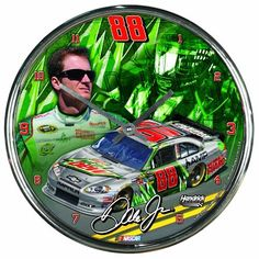 "NASCAR Dale Earnhardt Jr  Chrome Clock by WinCraft. $23.99. Officially licensed wall clock. Attention grabbing styling for any room. Shiny Chrome plastic construction with glass lens and metal hands. High quality quartz movement with a sweep second hand.   Requires one (AA) battery. Measures 12"" in diameter. Decorated and Assembled in USA with a China Components"