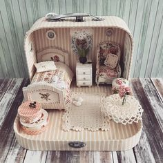 2018.04 Miniature Bedroom Dollhouse ♡ ♡ By Olga Mokriskaya