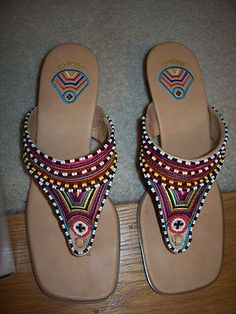 Gorgeous beaded pair of wedge sandals!! Gorgeous price to  match! $9.29!!! Chico's Tikal Wedge Stacked Heel Sandals Beaded Bright Multi Leather Size 8 M