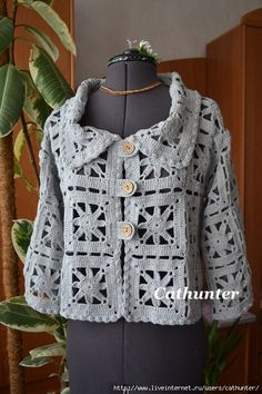 Жакет Елена. Обсуждение на LiveInternet   ----  sehr interessante gehäkelte Jacke aus Grannies mit Grafik  ---- very interesting granny jacket with grafics