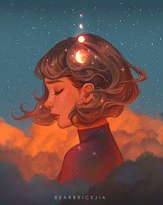 Beyond The Clouds, Karmen Loh, Digital, 2020 Art And Illustration, Art Anime Fille, Anime Art Girl, Fantasy Kunst, Fantasy Art, Aesthetic Art, Aesthetic Anime, L'art Du Portrait, Digital Portrait