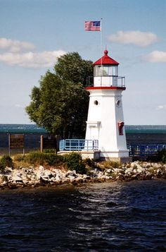 Cheboygan Crib Lighthouse located on the west side of the mouth of the Cheboygan River in Cheboygan.