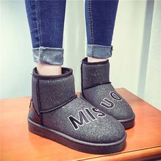 Casual Slip On Warm Cotton Lining Round Toe Bling Ankle Short Boots - US$29.99
