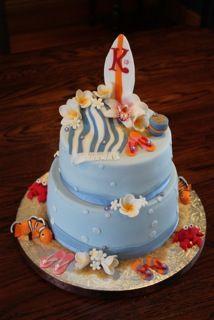 Seaside beach theme birthday cake