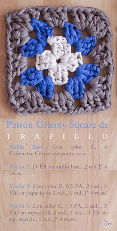Alfombra de Trapillo Granny Square. Crochet. Free pattern Crochet Coaster Pattern, Granny Square Crochet Pattern, Crochet Squares, Crochet Patterns, Crochet Granny, Crochet Crafts, Crochet Yarn, Crochet Projects, Love Crochet