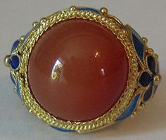 Vintage Gold Wash Sterling Silver Enamel Flowers Carnelian Ring from China | eBay
