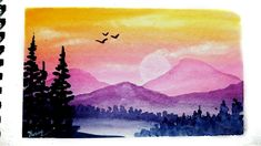 An easy watercolor mountain landscape painting tutorial with written instructions on screen. Watercolor Landscape Tutorial, Watercolor Scenery, Watercolor Paintings For Beginners, Easy Watercolor, Watercolour, Scenery Paintings, Watercolor Landscape Paintings, Watercolor Artists, Indian Paintings