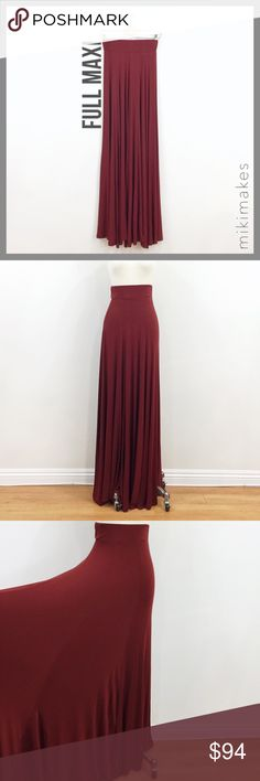 "🆕 RILLER & FOUNT • full garnet maxi skirt • Beautiful garnet color full maxi skirt • Wide 3"" waistband with very full flowy skirt • Super soft micro modal 93% micro modal 7% spandex Dry clean only Made in the USA Please see size chart in Riller and Fount capsule listing at the top for approximate measurements. Items vary depending on cut, but all items have stretch. @mikimakes • Feel free to ask any questions • Sorry, no trades Riller & Fount Skirts Maxi"