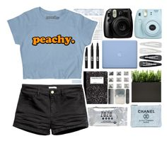 """""""Peachy."""" by stelbell ❤ liked on Polyvore featuring INC International Concepts, Fujifilm, Forever 21 and Chanel"""