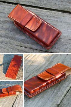 Leather pencil case handmade custom brown leather pencil
