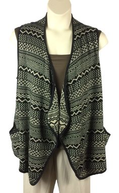 adb51061f40dee Womens Forever 21 Open Front Cardigan Sweater Plus Size 2X 3X Sleeveless  Black  FOREVER21