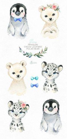 Snowy Penguin Snow Leopard Polar Bear Watercolor little animals clipart baby white portrait Arctic Winter flower kid nursery art baby-shower Bear Watercolor, Watercolor Images, Watercolor Animals, Clipart Baby, Penguin Clipart, Pinguin Illustration, Polar Bear Illustration, Winter Flowers, Winter Art