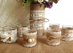 Burlap and lace covered votive tea candles and vase country chic wedding…