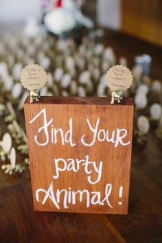 Party animal place cards. Perfect for a wild or animal-themed wedding.
