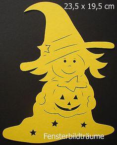 Fensterbild °Hexe mit Kürbis gelb Fotokarton, Herbst, Tonkarton