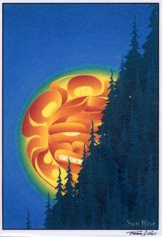 Frank Woll apinting of a Pacific Northwest Sun Good Day Sunshine, Haida Art, Aboriginal Artists, Maori Art, Sun Art, Native American Artists, Indigenous Art, Native Art, Indian Art