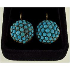 """Rare natural turquoise pave domed earrings in 14K gold and sterling C.1860.pThe earrings are 22 mm (15/16"""") long including the hooks,brdomes are 17 mm (11/16"""") diameter.pThe large domed earrings comprised of Persian turquoise cabochons sett in sterling prongs.brVivid blue of turquoise matching best to silver and this union of colorsbrwas always used in antique jewelry.pThe domes are mounted in 14K gold close back bezels.pThe earrings equipped with 14K gold shepherd hook clasps.pThere is no hallm Phoenix Jewelry, Dangle Earrings, Beaded Necklace, Gold Platinum, Antique Jewelry, Turquoise Necklace, Persian, Hooks, Sterling Silver"""