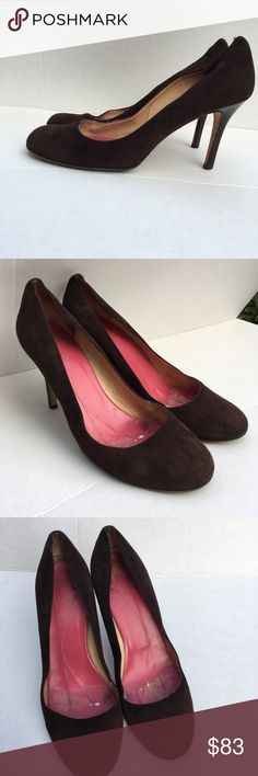Kate Spade New York brown suede round toe pumps Kate Spade New York round toe brown suede leather with brown wood stiletto heels, made in Italy kate spade Shoes Heels