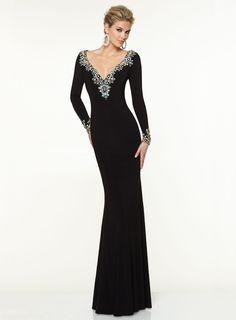 bridalup.com SUPPLIES Trumpet/Mermaid V-neck Sweep/Brush Train Jersey Evening Dress Long Evening Dresses