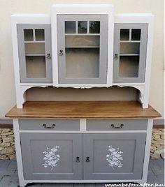 Ki ne emlékezne a nagymamák konyhájában sokszor még ma is meglévő régi idők kredenceire?     Nagyjából úgy néztek ki, mint ami a képen l... Chalk Paint Furniture, Diy Furniture Projects, Upcycled Furniture, Shabby Chic Furniture, Furniture Makeover, Vintage Furniture, Painted Closet, Vintage Buffet, Farmhouse Kitchen Cabinets