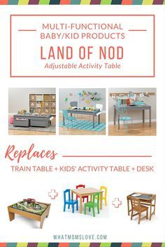 """The Land of Nod Adjustable Activity Table is featured as one of our finds for multi-functional products that will grow with your child. This  clever table has 3 sets of legs that allows you to adjust the height of the table as your child gets taller. Use the 15"""" legs for use as a train table, the 23"""" legs for use as an art table, and the 30"""" legs for a desk suitable for homework (because that time will come!)."""
