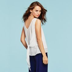 mark. Light and Layered Top back view | Avon #springfashion #springtops