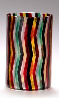 JOSEF HOFFMAN Beaker, 1916, clear glass with zigzag enameling, manufactured by John Oertel & Co. for the Wiener Werkstätte, 10.3cm H.   SOLD $1,410 Germany 2003
