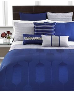 I like this black headboard - Hotel Collection Bedding, Links Cobalt Collection - Bedding Collections - Bed & Bath - Macy's Silver Bedroom, Bedroom Black, Bedroom Bed, Bedroom Decor, Bedroom Ideas, Master Bedroom, Blue Comforter, Grey Bedding, Royal Blue Bedding