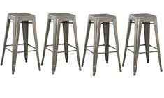 "BTEXPERT 4-Pack 30"" Solid Steel Stacking Industrial Distressed Rustic Metal Tabouret Dining room Modern Steel BarStool (Set of 4 Bar Stool)"