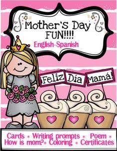 Mother's Day Fun! English & Spanish. Contiene:* Tarjetas Da de la Madre, nio y nia* Apuntes de escritura , nio y nia* Poema para mam, nio y nia* Cmo es mam?, nio y nia* Pgina para colorear, nio y nia* Certificados, nio y nia