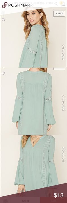 Split neck crochet mini dress in mint green Forever 21. Size Small. Mint green dress. Worn once. Excellent condition & a great summer color. Very comfortable and easy to wear.  Swing type dress. Forever 21 Dresses Mini