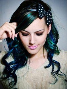 crazy hair, hair colors, dark hair, colored hair, black hair, blue green, green hair, bow, peacock colors