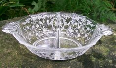 "50.00 Fostoria Glass ""Navarre"" Divided Mayo Dish #2496 Clear 1936-82"