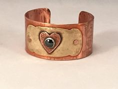 Adjustable MIxed Metal Brass and Copper Heart Cuff Bracelet with Hematite Stone -  #deal illustration #meal deal