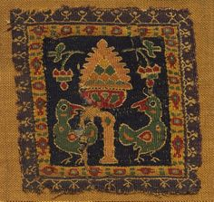 Egypt, Byzantine period, 5th - 6th century, tapestry; linen and wool, Overall - h:10.00 w:10.00 cm (h:3 7/8 w:3 7/8 inches). Andrew R. and Martha Holden Jennings Fund 1982.379
